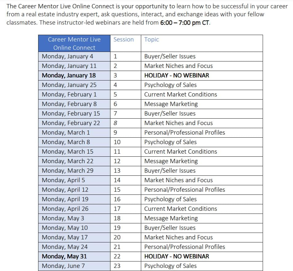 Kaplan Career Mentor Live Schedule Screenshot