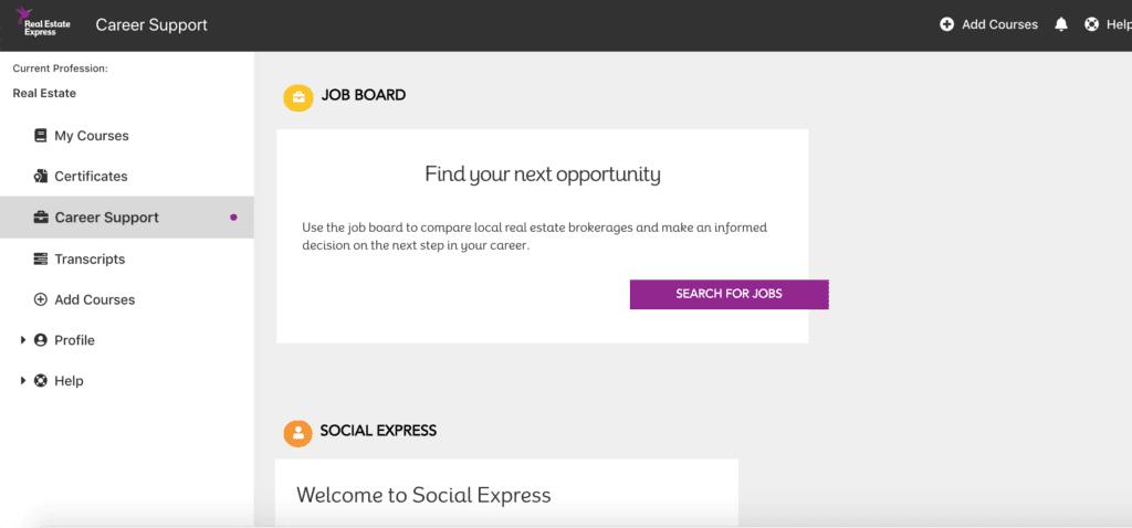 Real Estate Express Career Support Screenshot