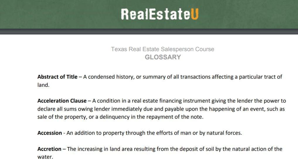 RealEstateU Glossary