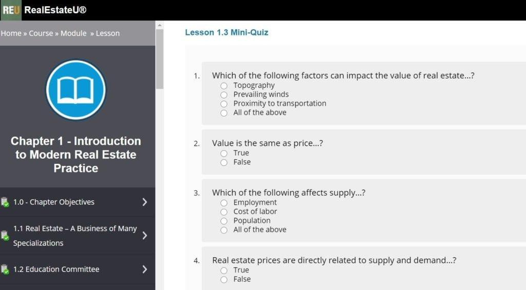RealEstateU Lesson 1.3 Mini Quiz Screenshot