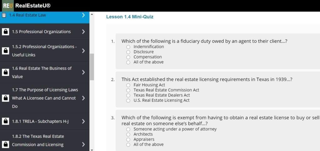 RealEstateU Lesson 1.4 Mini Quiz Screenshot