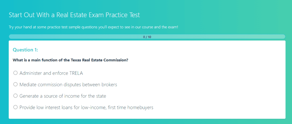 AceableAgent Practice Exam Screenshot