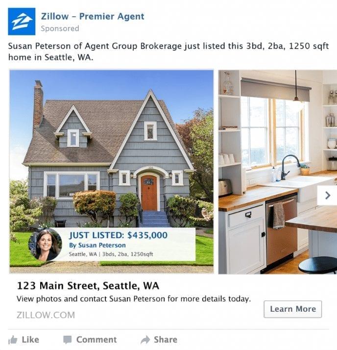 Facebook real estate ad example | AgentAdvice.com