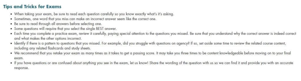 The CE Shop Exam Tips Screenshot
