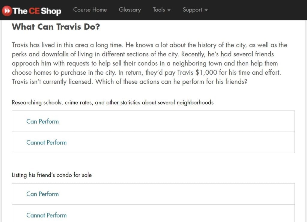 The CE Shop Lesson 2 Quiz Screenshot