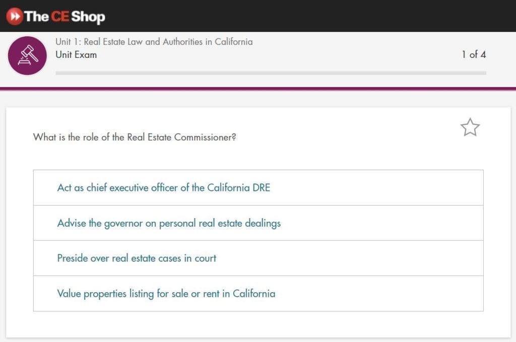 The CE Shop Unit 1 Exam Screenshot