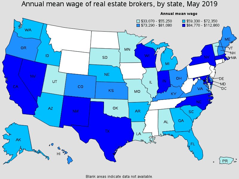 annual mean wage of real estate brokers by state map May 2019 | AgentAdvice.com