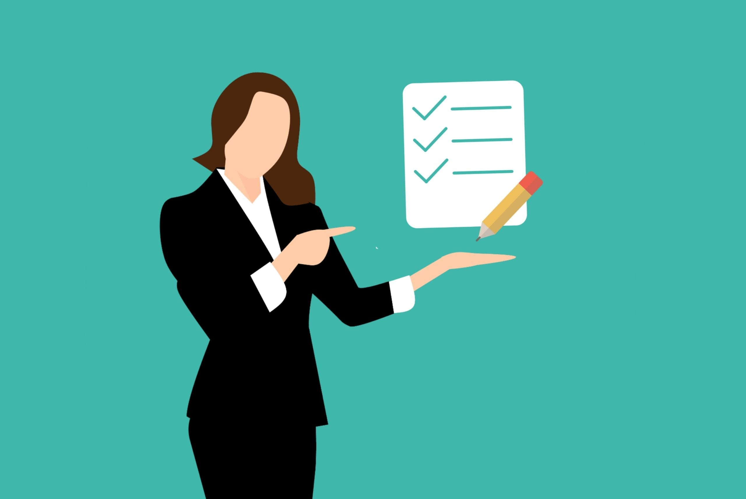 stockvault-woman-showing-checklist-illustration254672