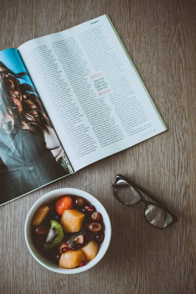magazine and food