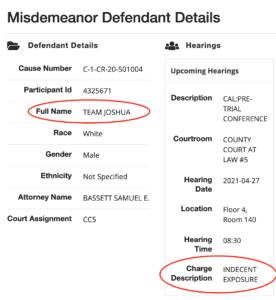 Josh Team Indecent Exposure Travis County Court Hearing